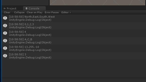 キャッシュしたEnum型の名前一覧や値一覧、要素数を表示