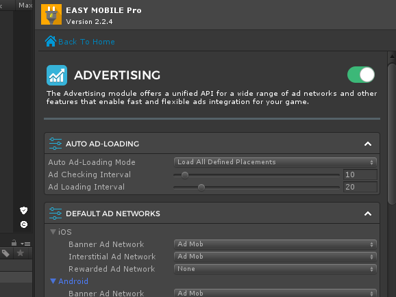 Easy Mobile Proの広告設定