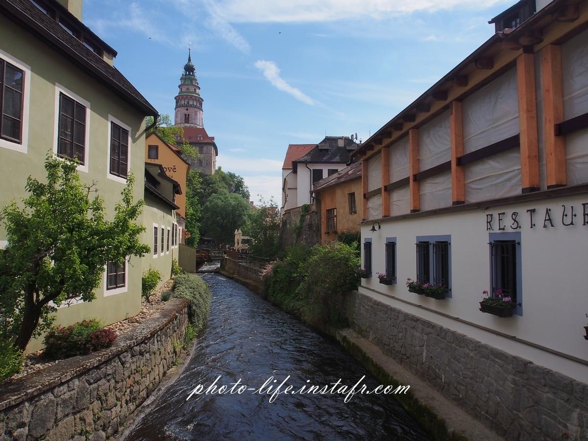 美しい街・チェスキークルムロフを流れる川