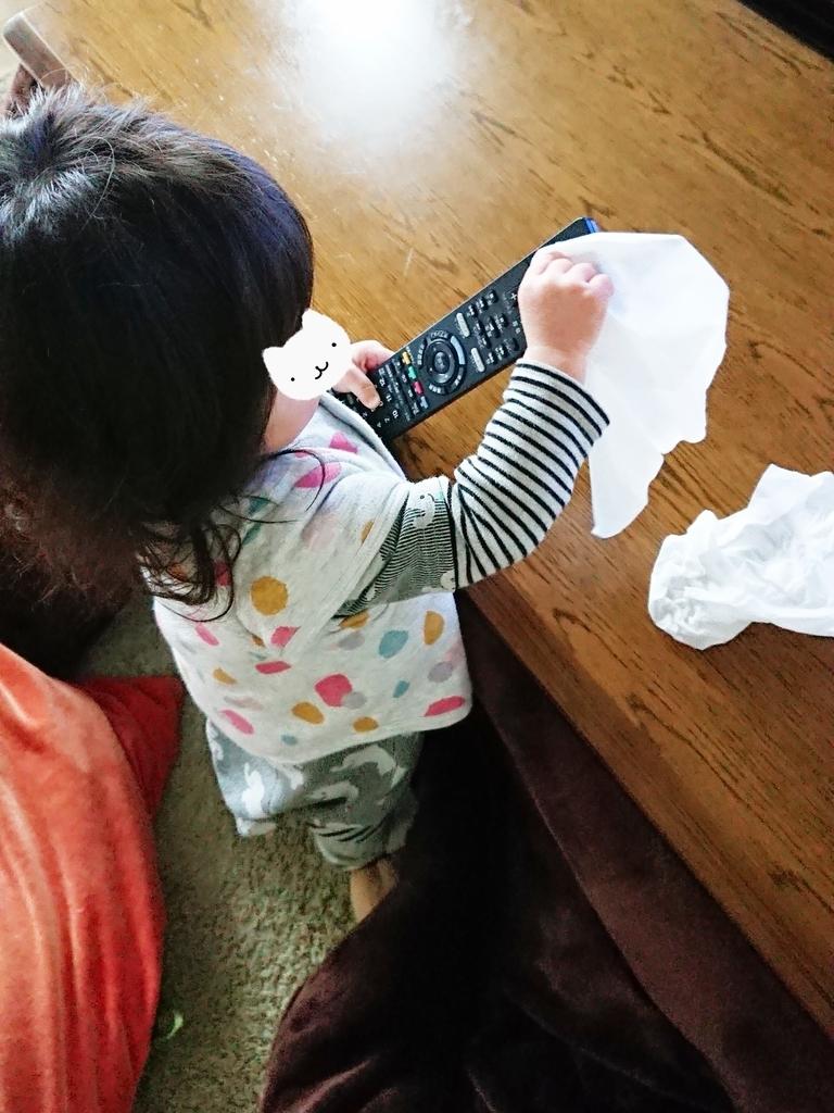 リモコンを掃除する子供