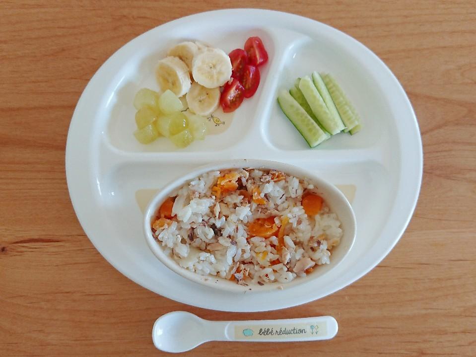 離乳食 鮭と野菜の混ぜご飯