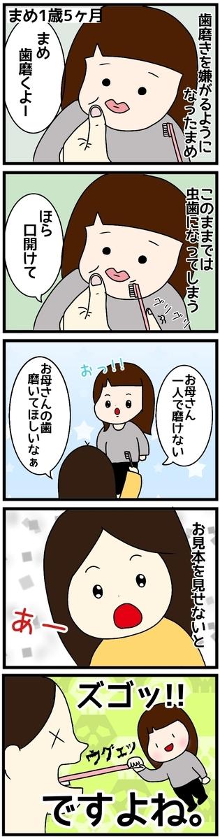 歯磨きを嫌がる子供の4コマ漫画