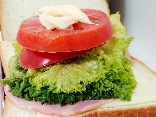 パンの上にハムチーズトマトレタス