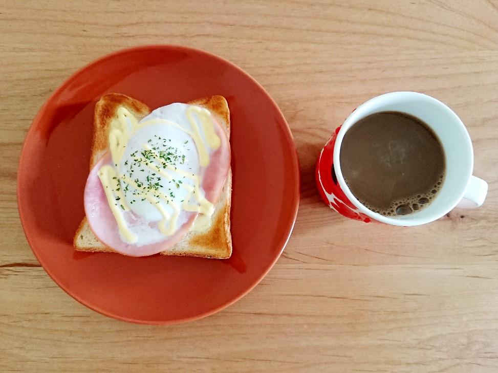 コーヒーとハムチーズトースト