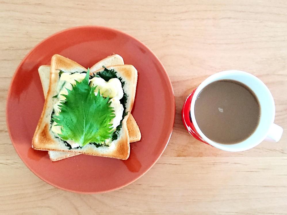 コーヒーと大葉ささみチーズトースト