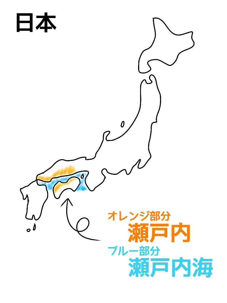日本地図瀬戸内地域