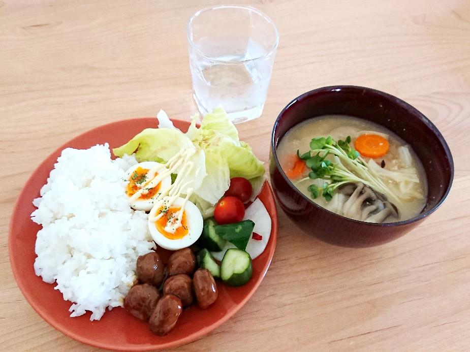ワンプレートご飯とお味噌汁