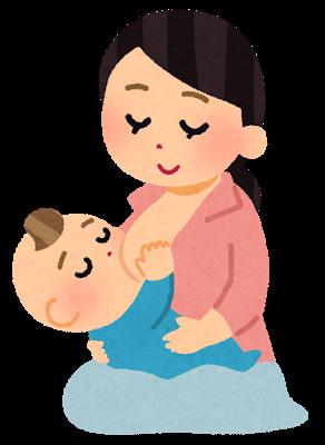 授乳中の母子のイラスト