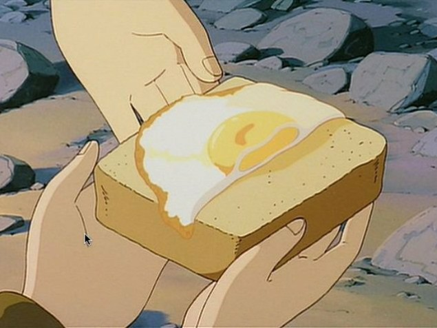 天空の城ラピュタの食パンを手に取っているシーン