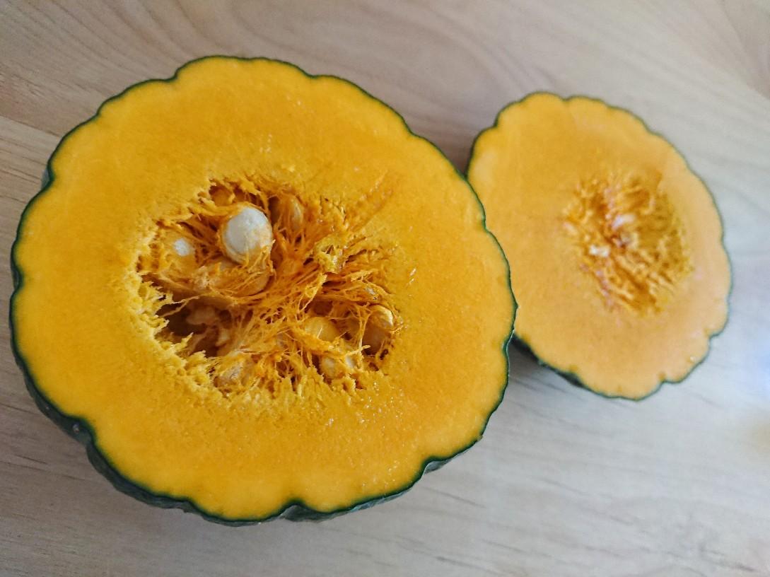 真っ二つになったかぼちゃ