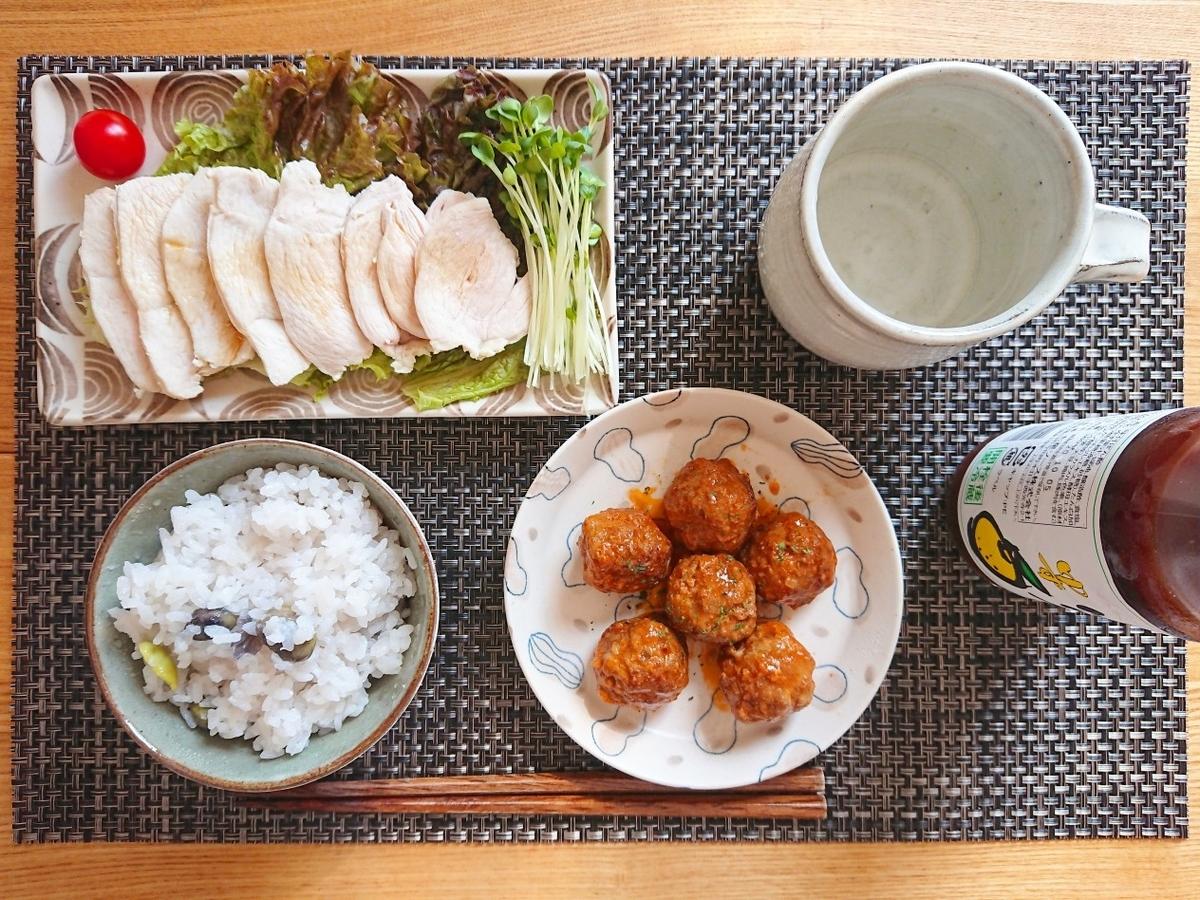 黒豆ご飯 鶏肉 ミートボール 白湯