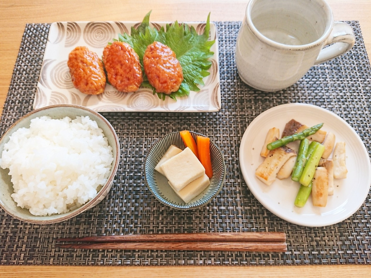 ご飯 つくね 高野豆腐 きのこの炒め物