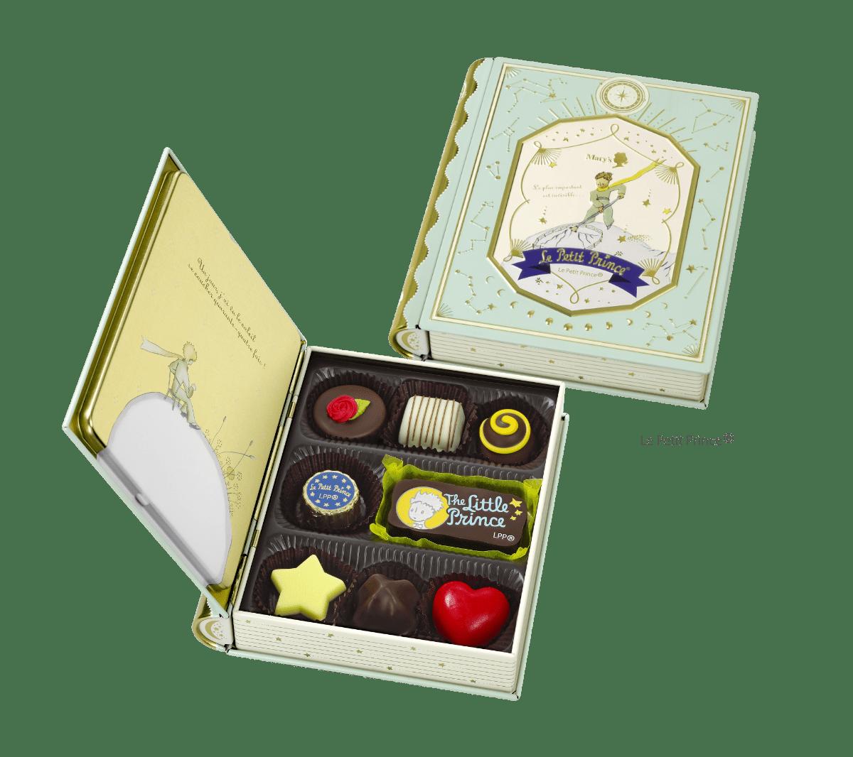 星の王子さまのチョコレートが入った本の形の缶