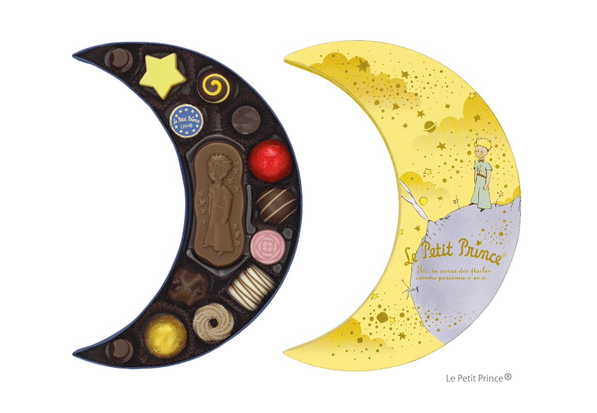 星の王子さまの月の形の入れ物に入ったチョコレート