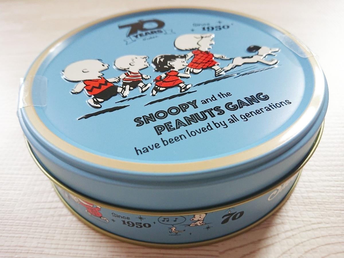 ピーナッツ1950年代スペシャル缶の側面