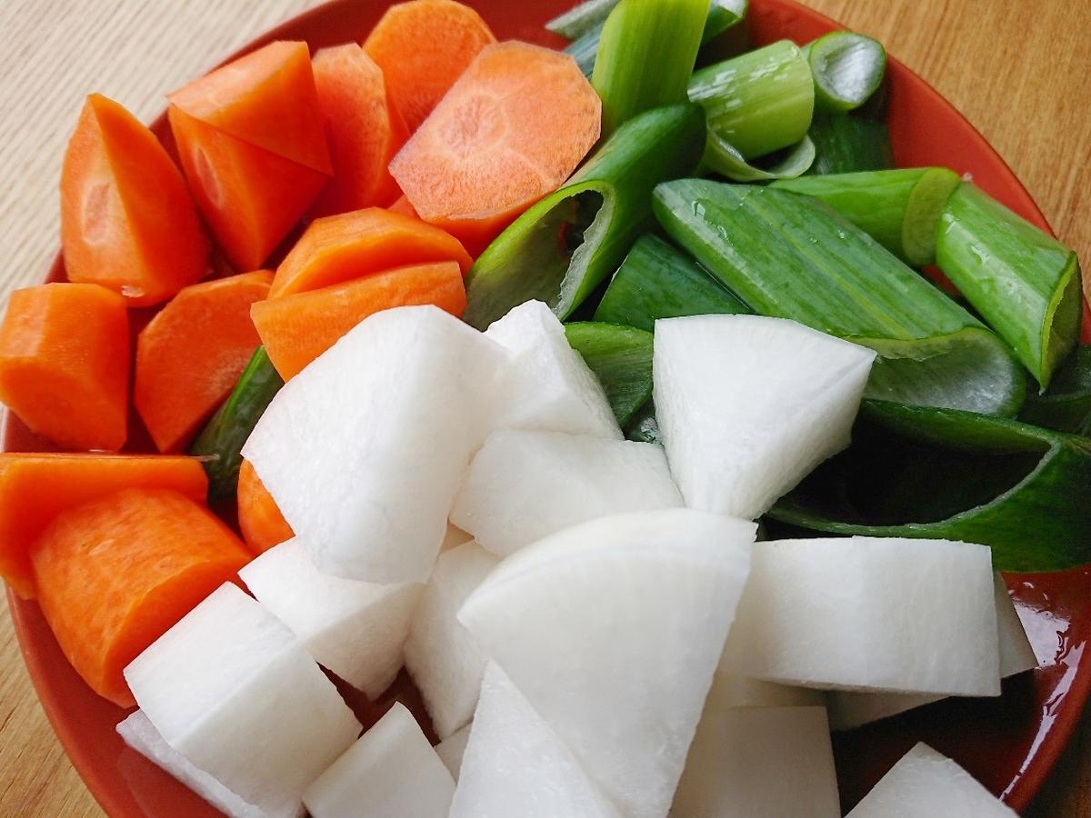 一口大に切った野菜
