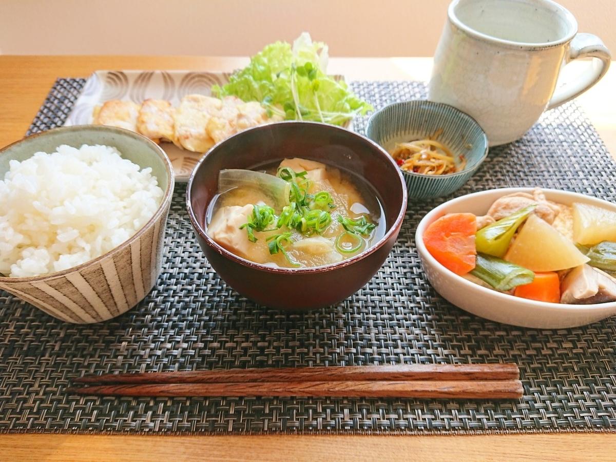ごはん 肉 お味噌汁 鶏もも肉の煮物 小鉢