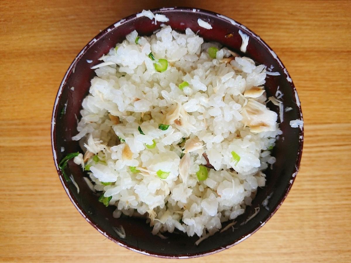 鯖と春菊の混ぜご飯