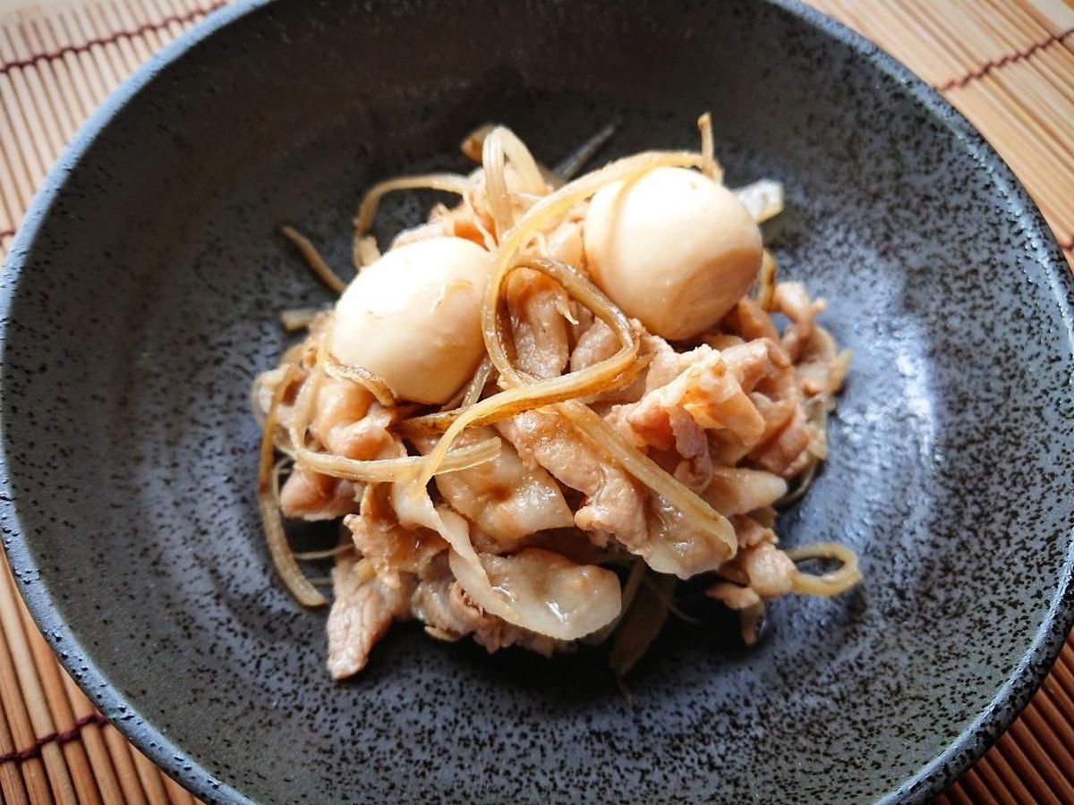 豚バラとごぼうとうずらの卵の酢煮