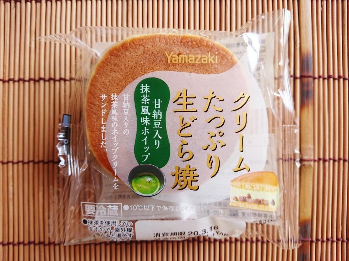 山崎製パン クリームたっぷり生どら焼甘納豆入り抹茶風味ホイップ
