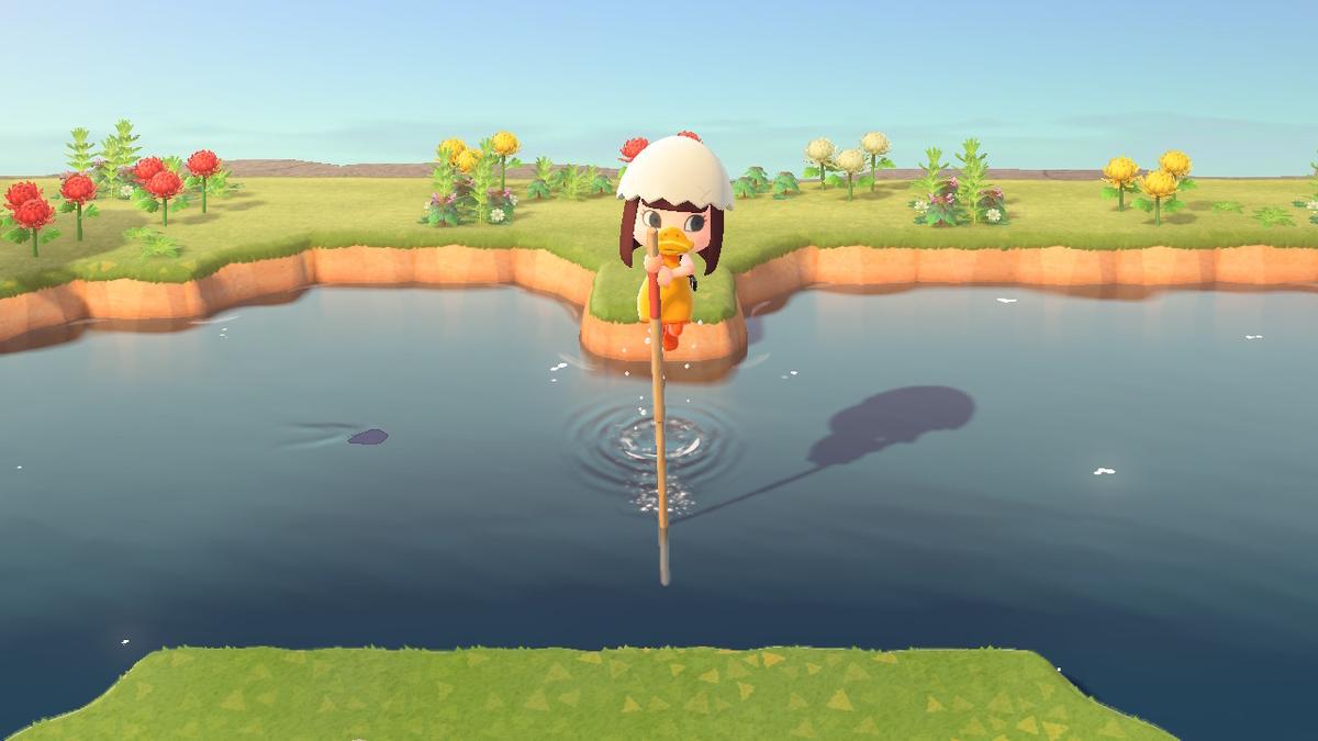 あつ森 高飛び棒で飛んでいる様子
