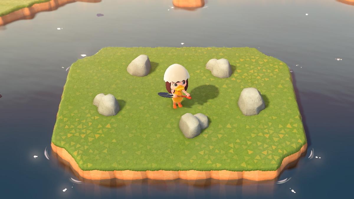 あつ森 離島の真ん中に岩が5つ