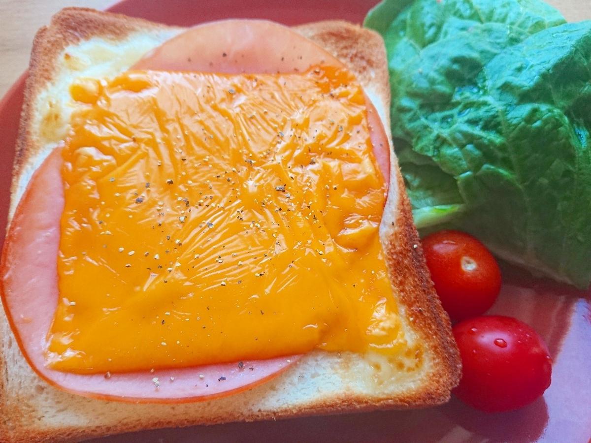 ハムとチェダーチーズがのったトースト サラダ