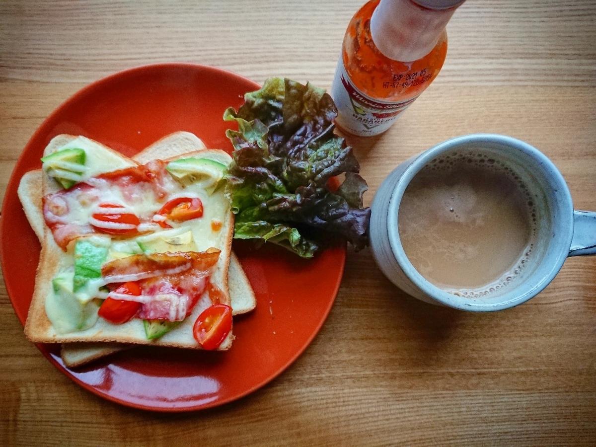 ベーコンアボカドマヨチーズトースト コーヒー