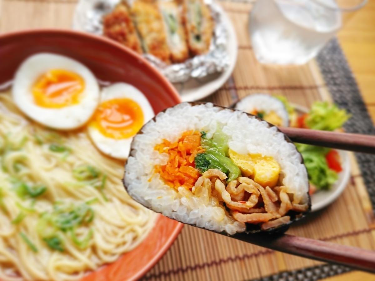 ラーメン 巻き寿司 カツ
