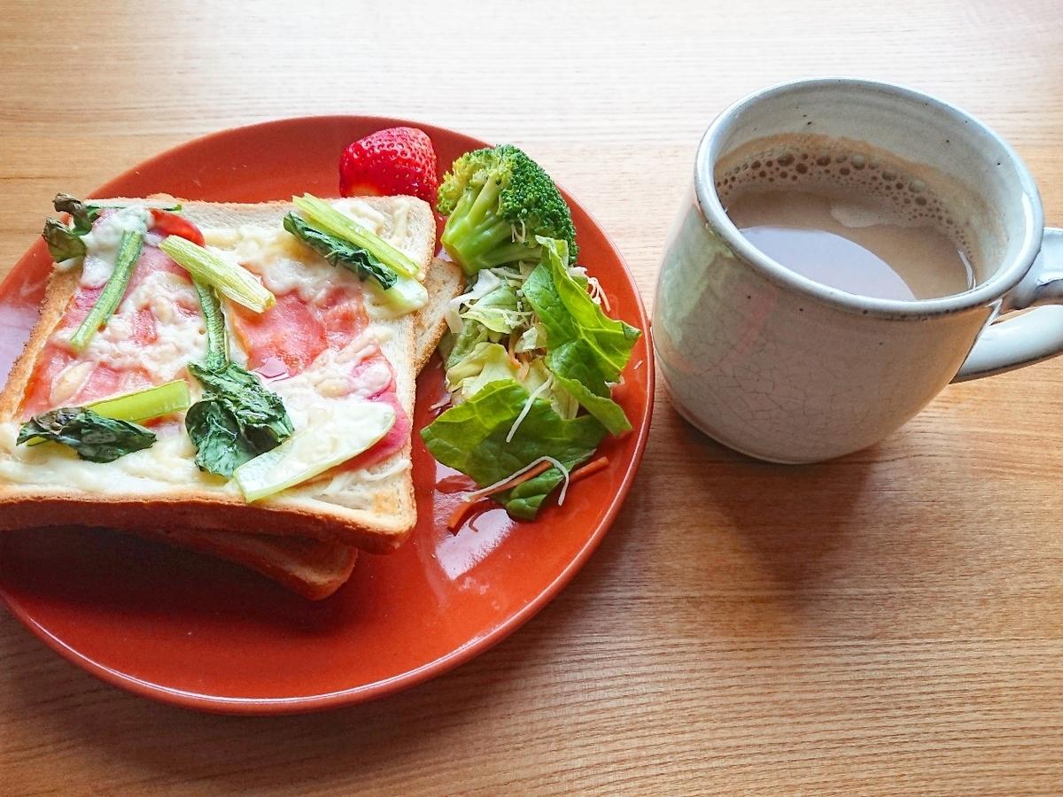 小松菜ベーコンチーズトースト