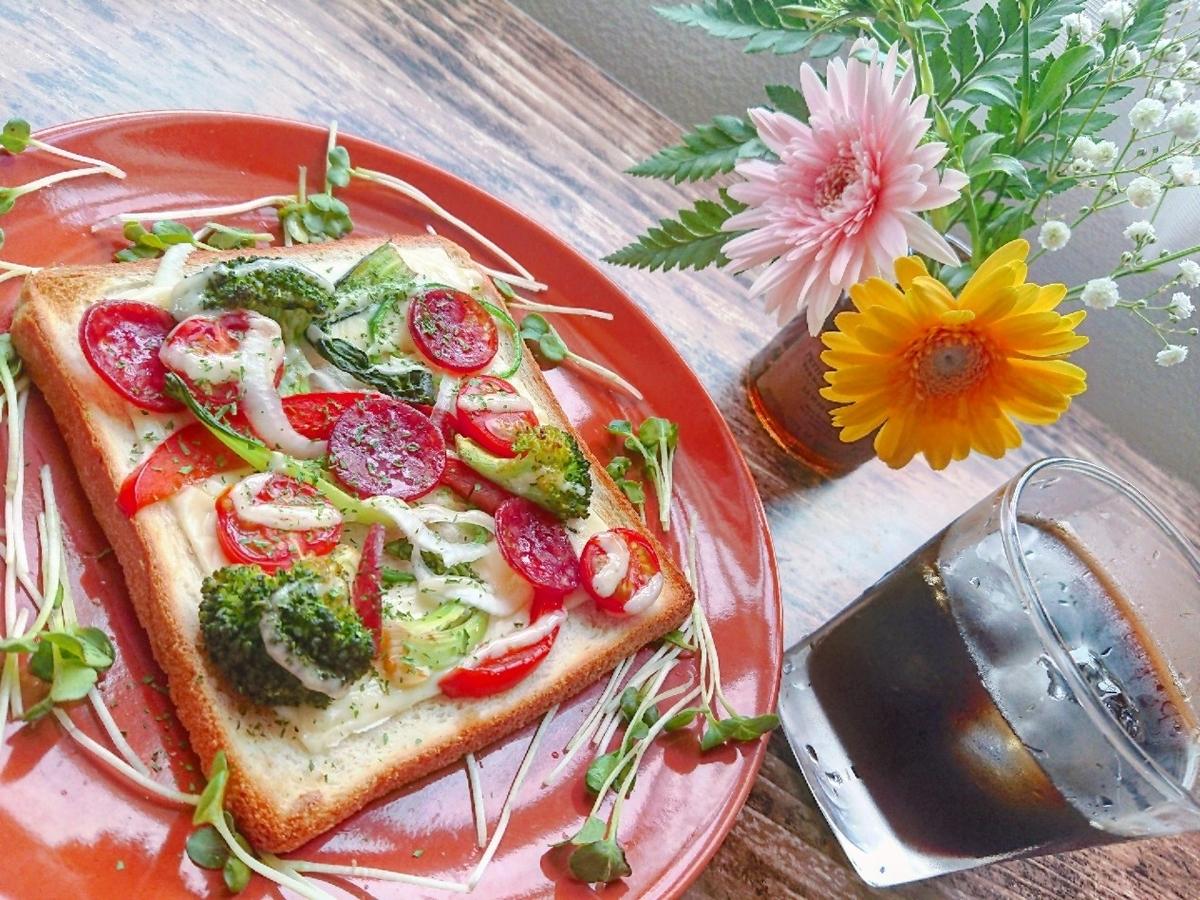ピザトースト お花