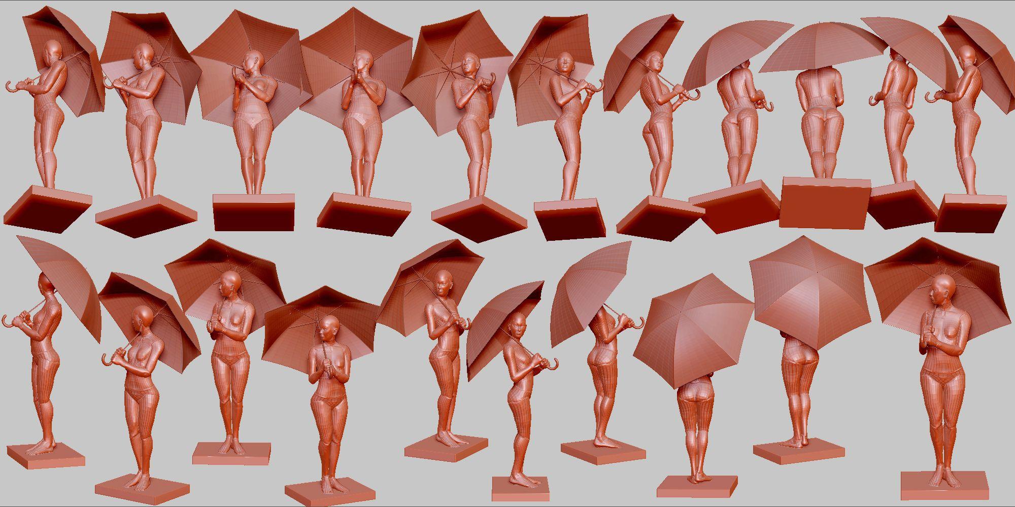傘をさす 06 ポーズ 1195 髪と形