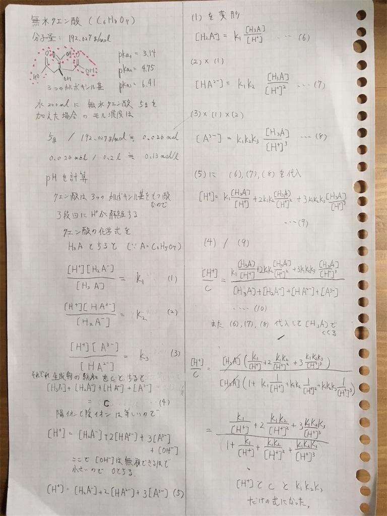 クエン酸濃度計算 式誘導