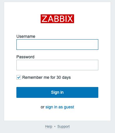 zabbixのログイン画面
