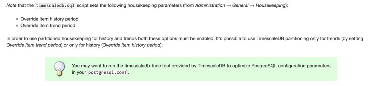 TimescaleDB用パラメータに関する画像