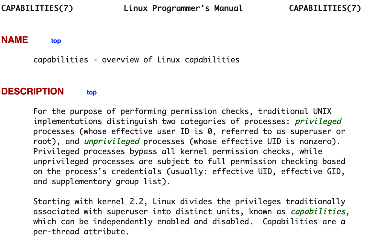 capabilities - overview of Linux capabilities