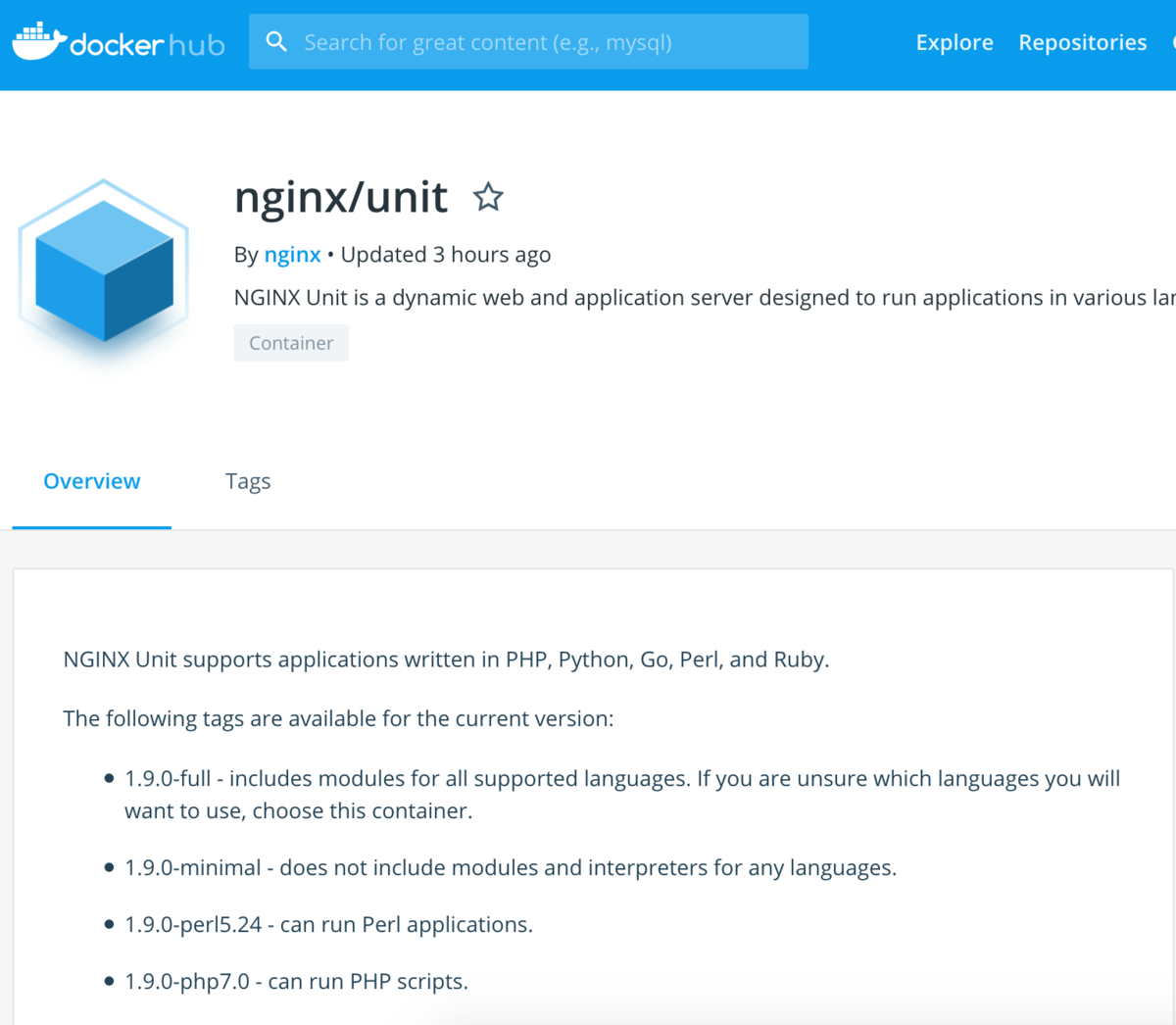 https://hub.docker.com/r/nginx/unit/