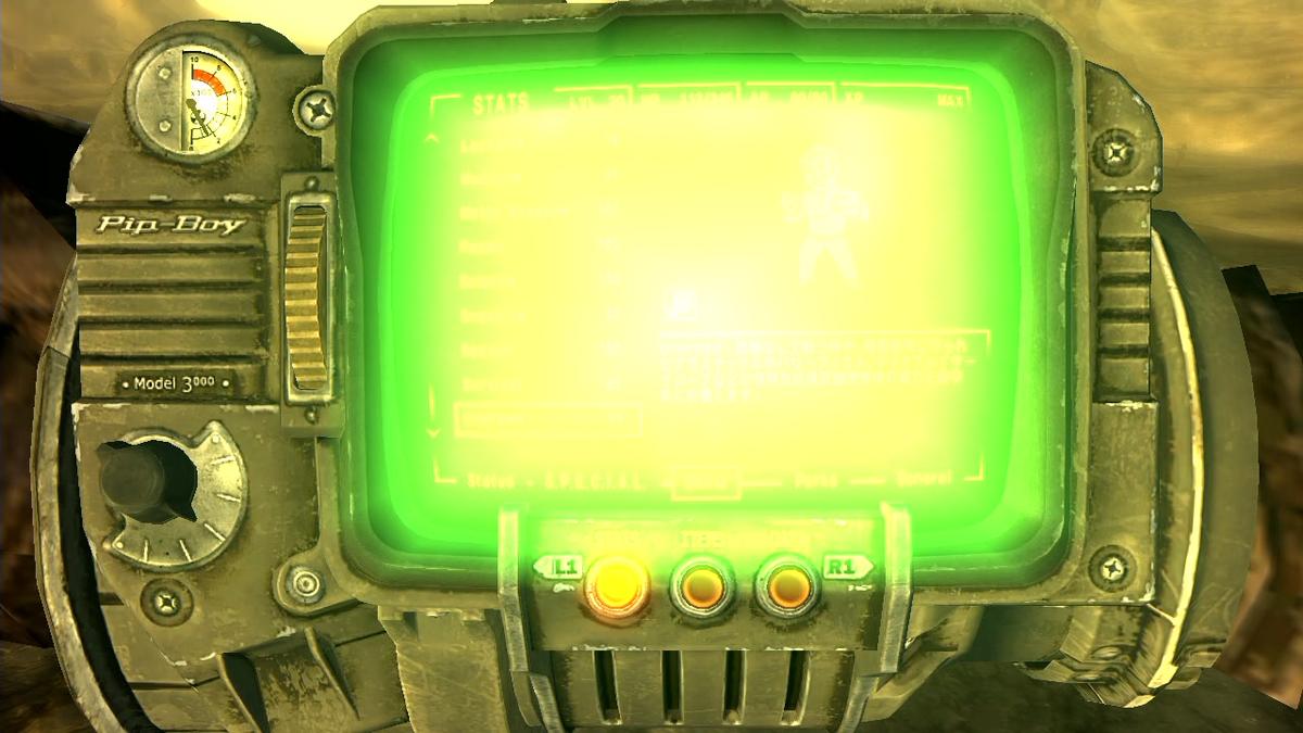 Fallout New Vegas 腕の機械が緑色に光って見えない。