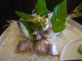 [旅行][ごはん] 2010.3.26. 熱海・初島の漁師食堂で鰺の刺身。
