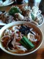 [旅行][ごはん] 2013年4月7日、伊香保温泉にて、水沢うどんと舞茸のてんぷら。うまっ