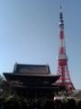 [散歩] 2014年元旦、芝・増上寺と東京タワー。