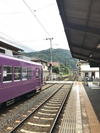 2018/07/29、京都。嵐電嵐山本線(市電)に乗る