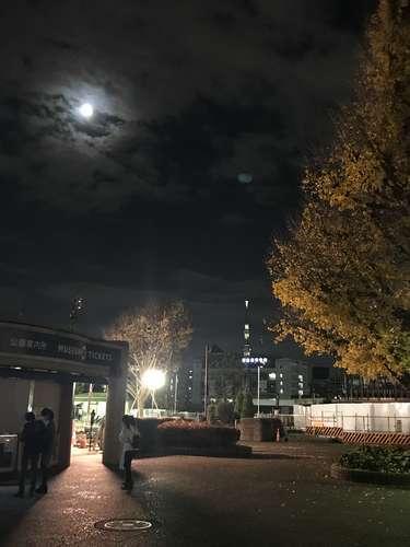 上野公演からの帰り道。月とタワー