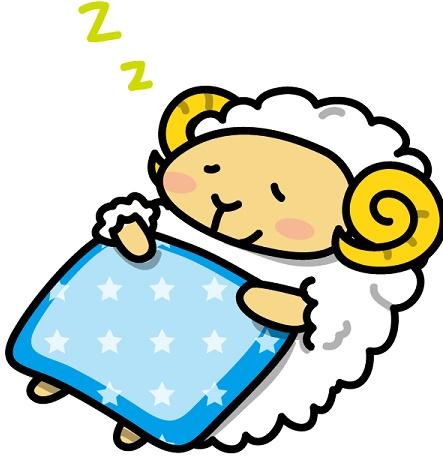 眠っている羊のイラスト画像です。