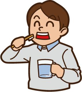歯を磨いてる男性のイラストです。