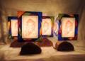 329表(テーブル)W16xD12xH30(cm) 素材・和紙・木・ガラス