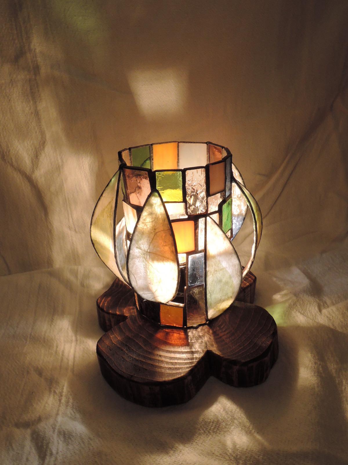 347(テーブル)W18xD18xH16(cm) 素材・木・ガラス・和紙