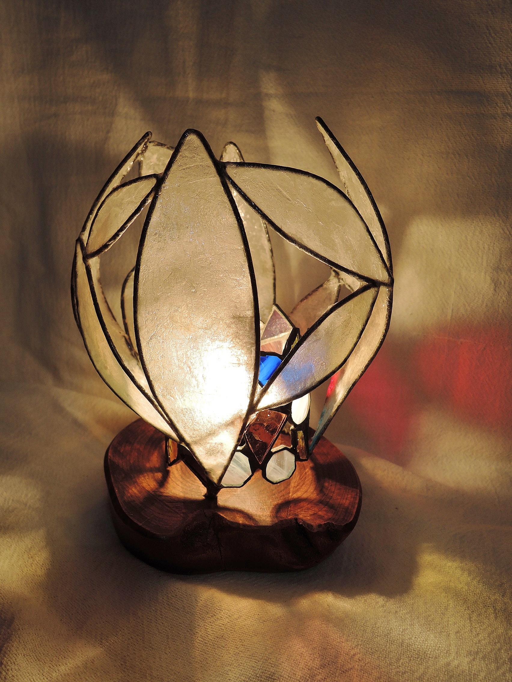 358 (テーブル)W15xD15xH20(cm) 素材・木・ガラス・和紙
