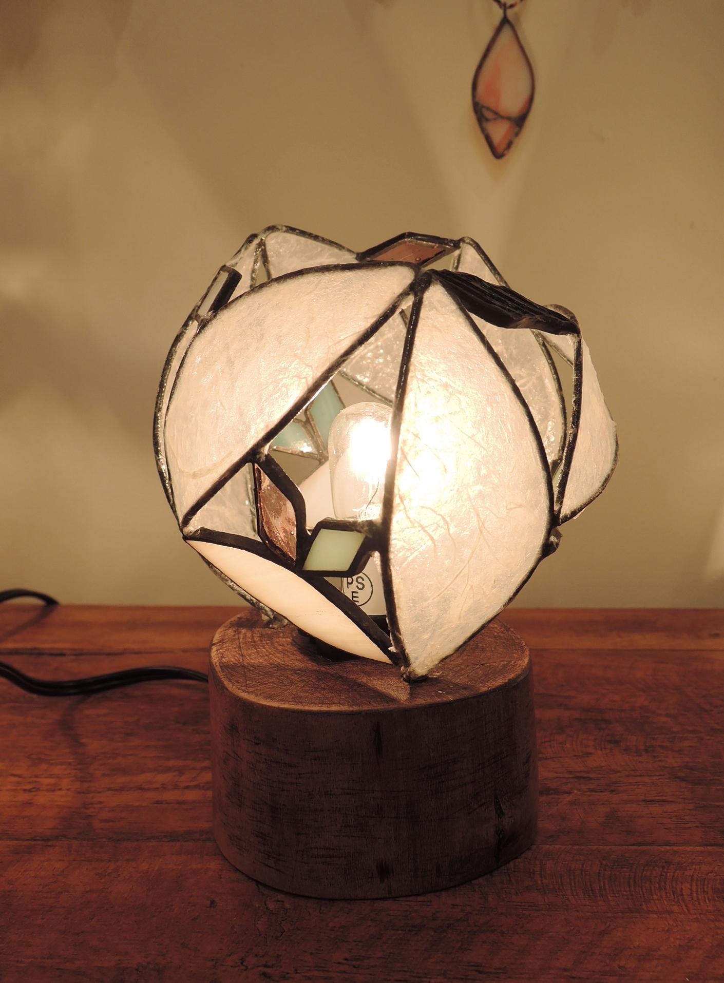 361(テーブル)W15×H10×D10(cm)素材・木・ガラス・和紙