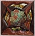 14  W30×D3×H30cm/木・ガラス・フィルム・押し花・鏡